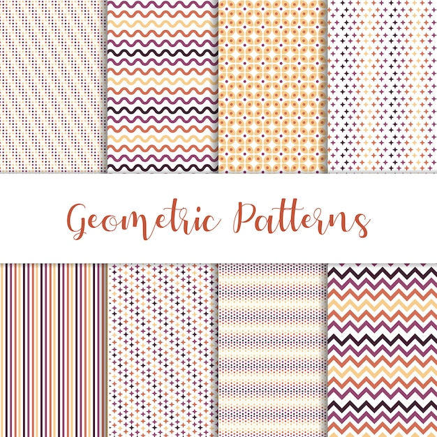 Beautiful set of geometric patterns Free Vector