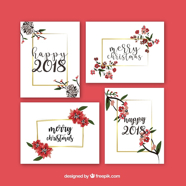 Beautiful set of new year greeting cards with flowers Vector | Free ...