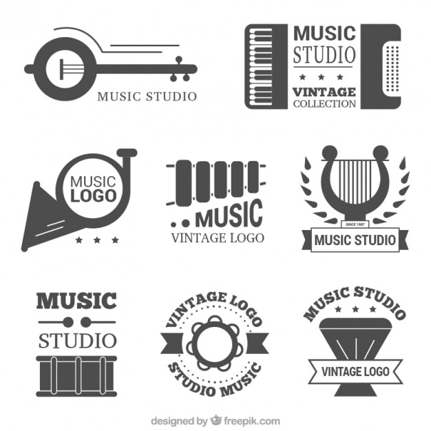 Beautiful Set Of Vintage Music Studio Logos Vector Free Download