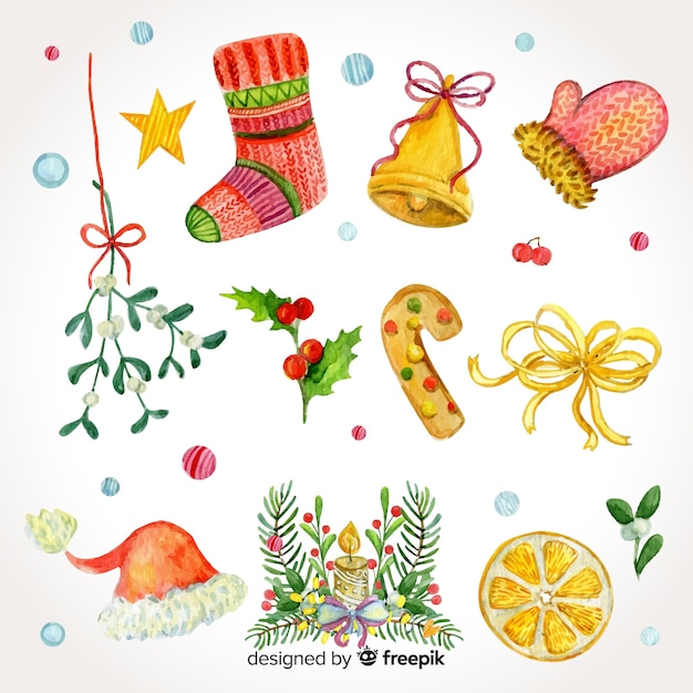 Beautiful set of watercolor christmas elements Free Vector