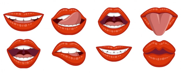 Beautiful set of women's lips. Premium Vector