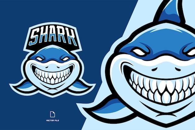 Beautiful shark mascot logo illustration Premium Vector