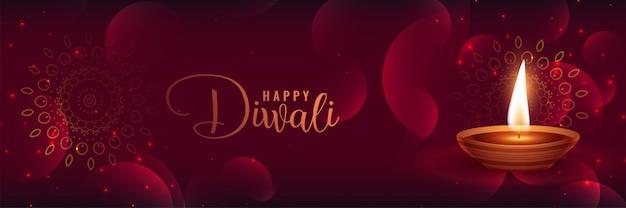 Beautiful shiny diwali banner with featival diya Free Vector