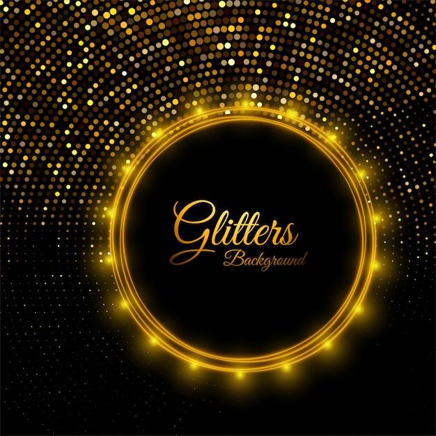 Beautiful shiny golden glitters on black Free Vector
