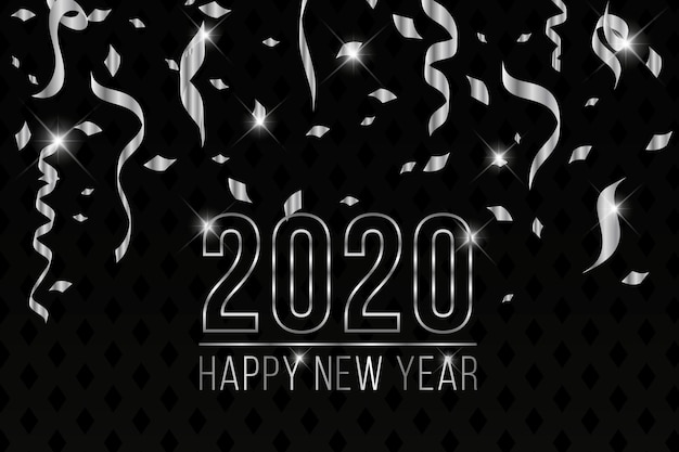 Beautiful silver new year 2020 background Free Vector