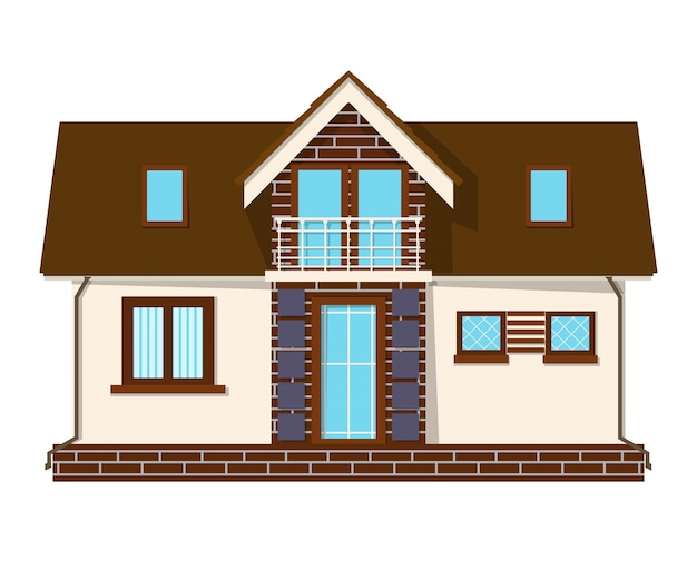 Beautiful small house with a loft, balcony. building with an attic. cozy rural house with a mezzanine. Premium Vector