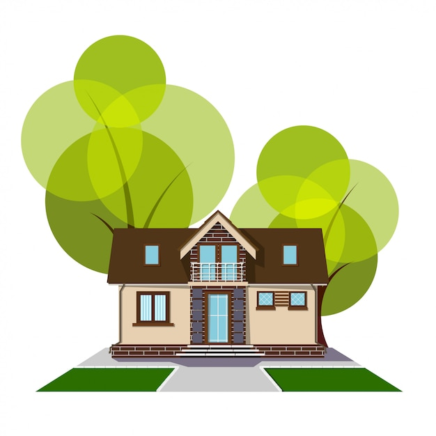 Beautiful small house with a loft, balcony and trees. building with an attic, track and grass lawn. cozy rural house with a mezzanine Premium Vector