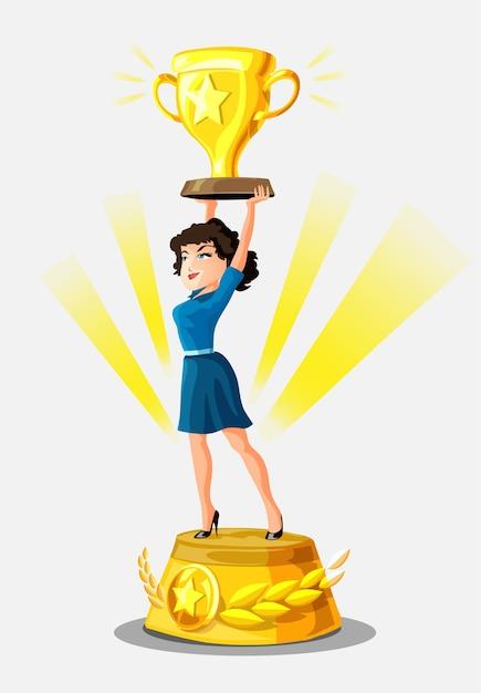 아름 다운 미소 사업가 황금 컵과 주위 영광의 광선 승자 받침대에 서 있습니다. 여자 우승자. 웹 사이트에 대 한 사업 배경입니다. 여성 성, 최고, 성공 여성. 프리미엄 벡터