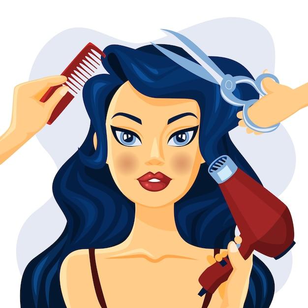美容室で笑顔美人。ハサミ、ブラシ、扇子で髪型を整えます。図 Premiumベクター