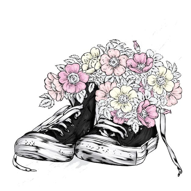 美しいスニーカーと花のイラスト Premiumベクター