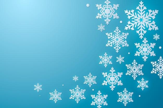 Красивые снежинки в бумажном стиле с пустым пространством Premium векторы