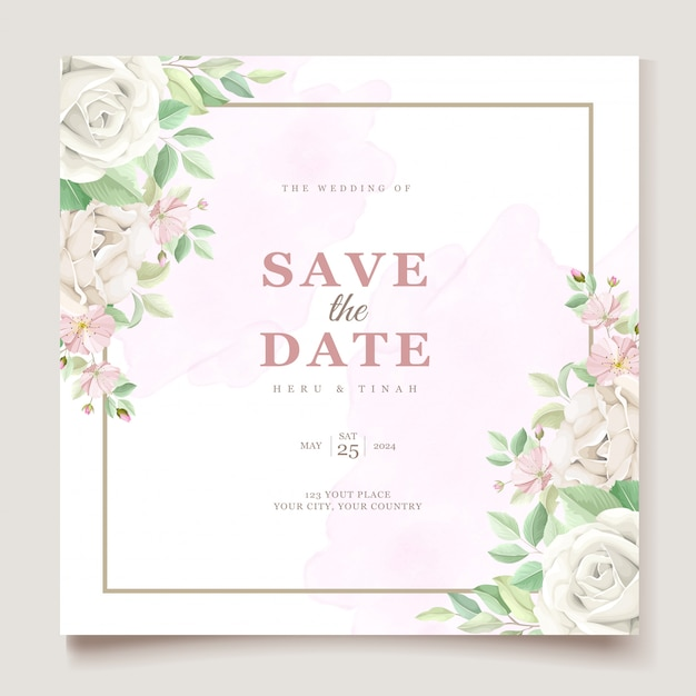 美しい柔らかい花と葉の結婚式の招待カードセット 無料ベクター