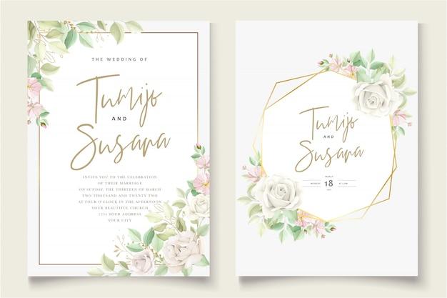 아름 다운 부드러운 꽃과 나뭇잎 결혼식 초대 카드 무료 벡터