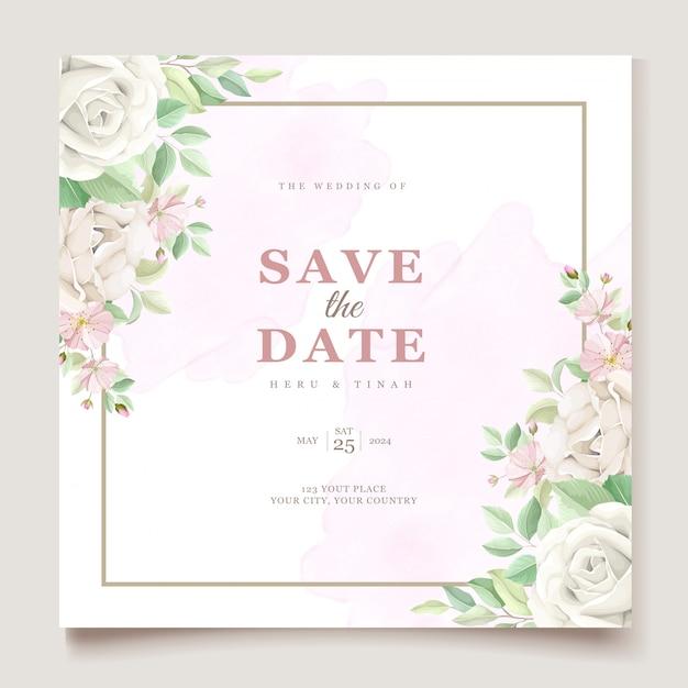 Bellissimo set di carte invito matrimonio floreale morbido e foglie Vettore gratuito