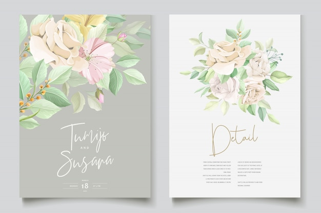 Beautiful soft floral and leaves wedding invitation card Free Vector
