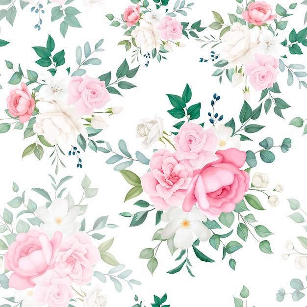 美しい柔らかな花柄のシームレスなパターンデザイン 無料ベクター