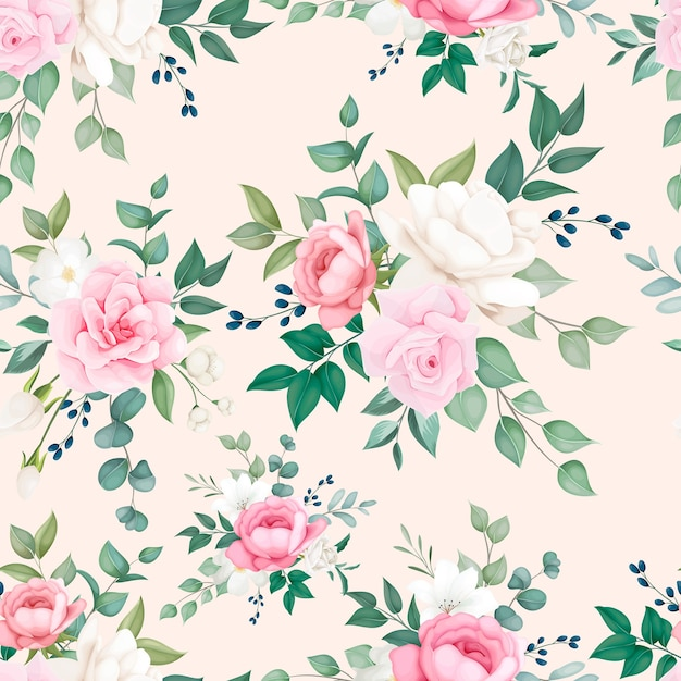 Beautiful soft floral seamless pattern design Free Vector