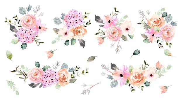 Красивая мягкая цветочная композиция акварель коллекция Premium векторы