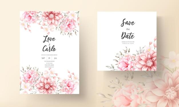 아름 다운 부드러운 복숭아와 갈색 꽃 수채화 웨딩 카드 프리미엄 벡터