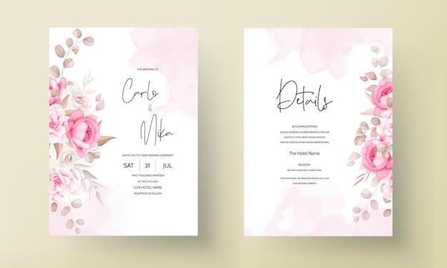 아름 다운 부드러운 복숭아와 갈색 꽃 결혼식 초대장 서식 파일 무료 벡터