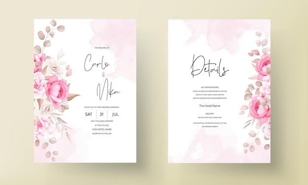 Beautiful soft peach and brown floral wedding invitation template Free Vector