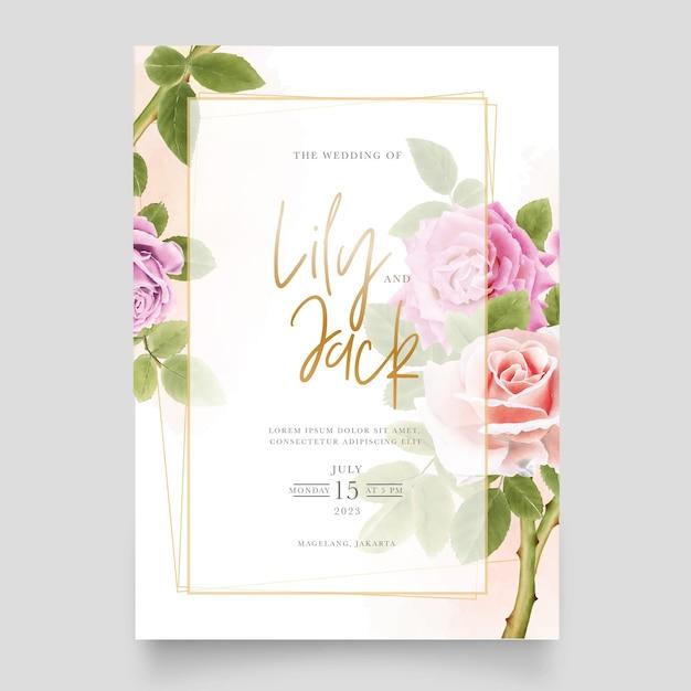 手描きのバラのイラストの美しい柔らかいピンクの花束 無料ベクター