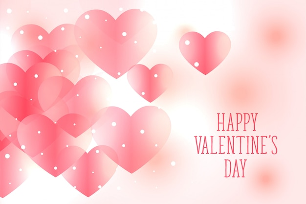 Beautiful soft pink hearts valentines day background Free Vector