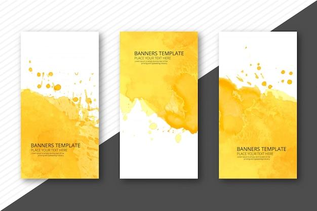 Beautiful soft watercolor headers set template vector Premium Vector