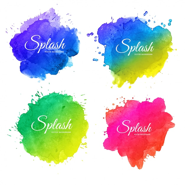 Beautiful soft watercolor splash set design Premium Vector