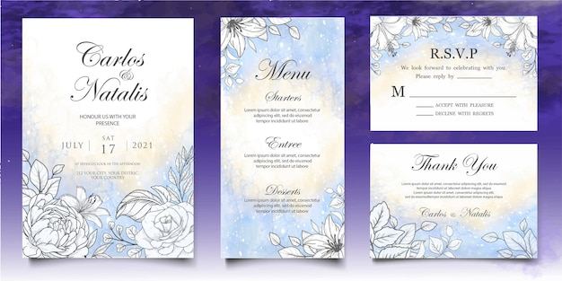 Beautiful splash and floral lineart wedding card template Premium Vector