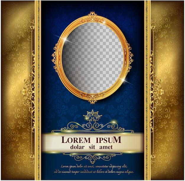 Beautiful splendor of oval frame on pattern background Premium Vector