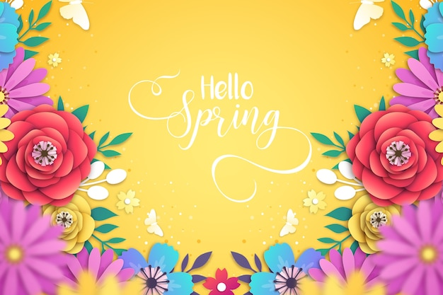 Beautiful spring background in paper style Premium Vector