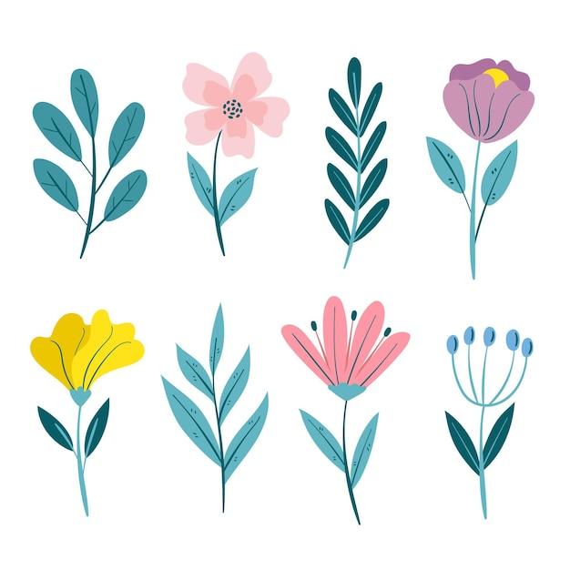 아름다운 봄 꽃 모음 무료 벡터