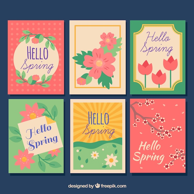 Beautiful spring greeting card collection vector free download beautiful spring greeting card collection free vector m4hsunfo