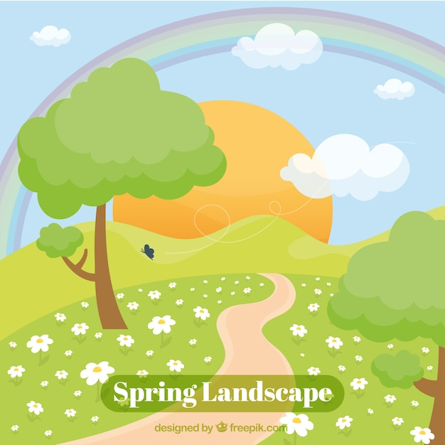 Beautiful spring landscape background with sun\ and a path