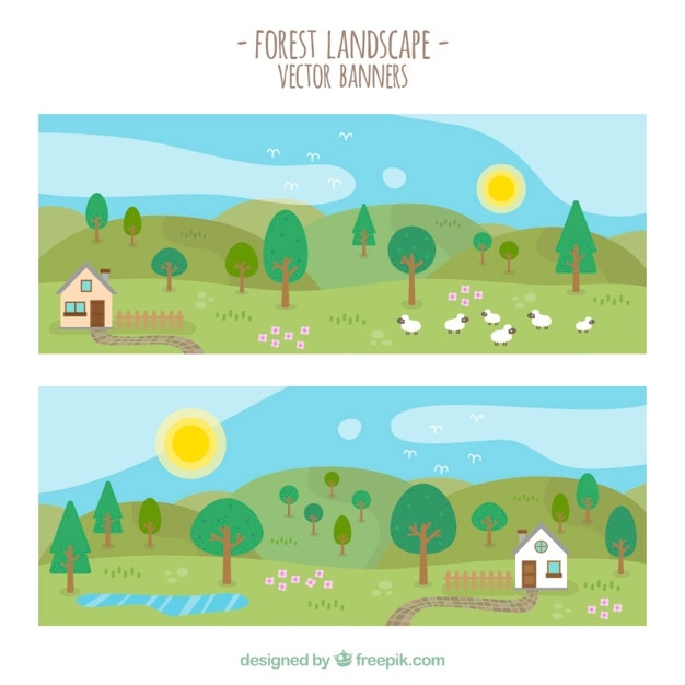 Beautiful spring landscapes banners Free Vector