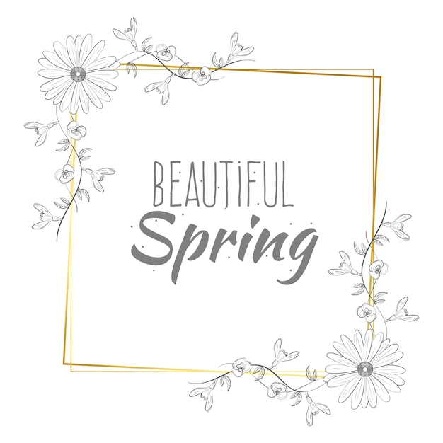 Beautiful spring lettering on golden frame Free Vector