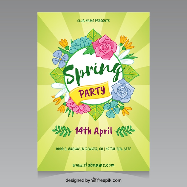 Beautiful Spring Party Flyer Template Vector Free Download