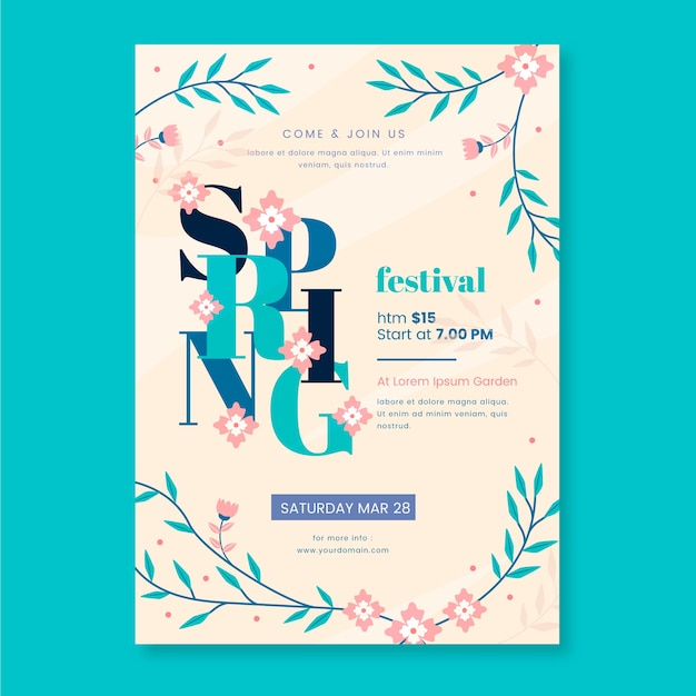 Beautiful spring poster template Free Vector
