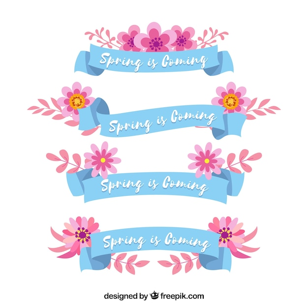 Beautiful spring ribbon collection Free Vector
