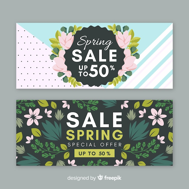 Beautiful spring sale banner Free Vector