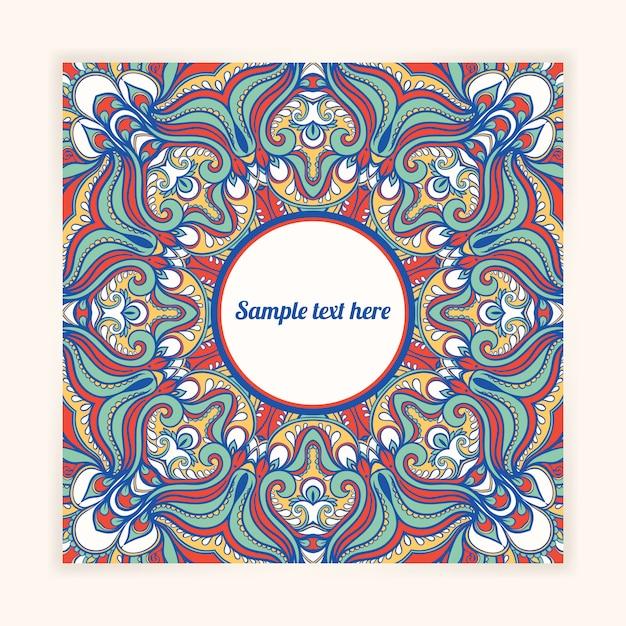 抽象的な自然のパターンとテキストのための場所の美しい正方形のカード Premiumベクター