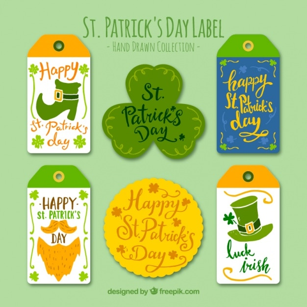 Beautiful Stickers And Of Saint Patrick Set Free Vector