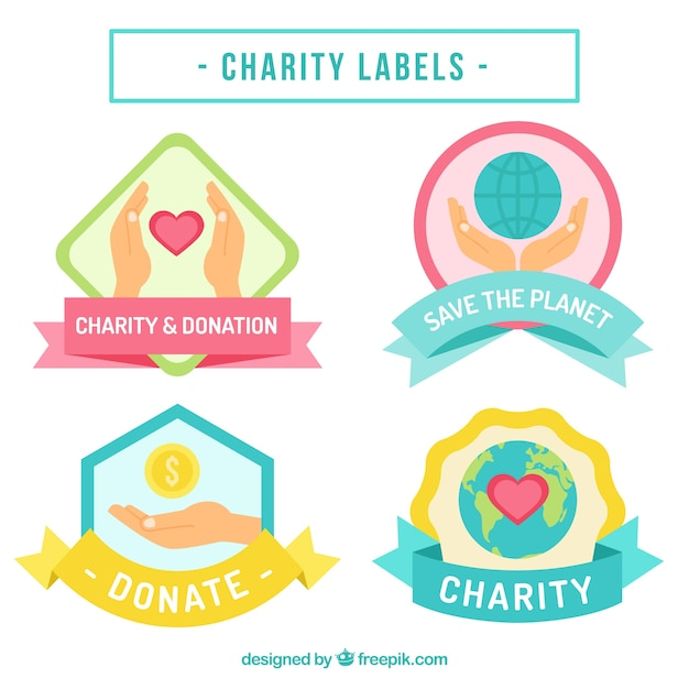 Beautiful Stickers Of Charity Free Vector