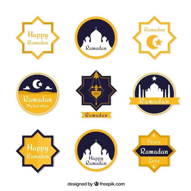 Beautiful Stickers Set Of Ramadan Free Vector