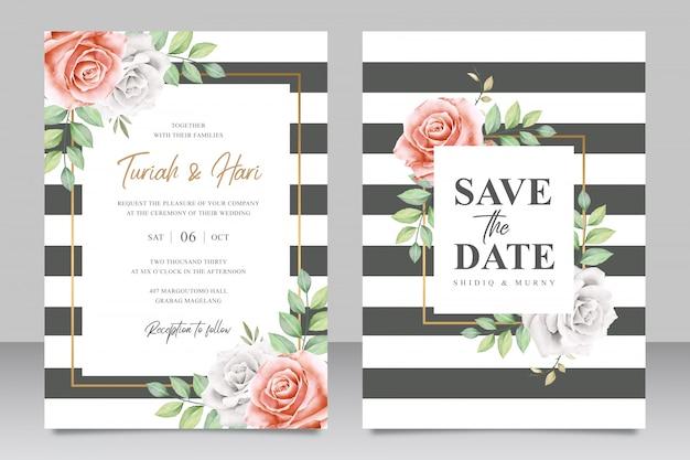 Beautiful striped wedding invitation card template Premium Vector