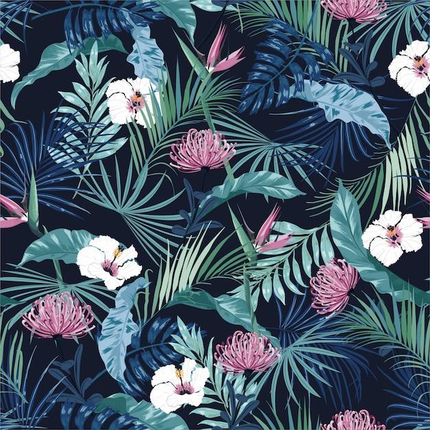 美しいスタイリッシュな暗い熱帯の花のシームレスパターン Premiumベクター