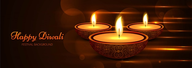 Beautiful stylish happy diwali festival template Free Vector