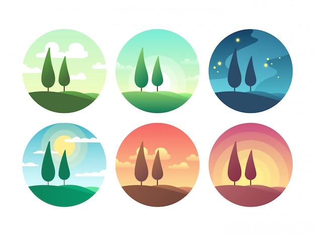 Красивый летний пейзаж в разное время суток. вектор восхода солнца, солнечный день, закат вечер и звездная ночь Premium векторы