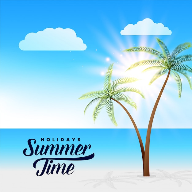 Beautiful summer paradise beach scene background Free Vector
